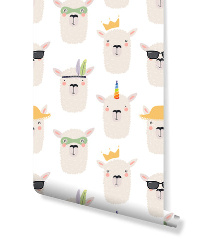 Self Adhesive Removable Wallpaper with Hand Drawn Cute Lamas Face Design, Peel and stick Animal Wall Paper Scandinavian Style CC194