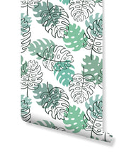 Self Adhesive Monstera Palm Leaves Removable Wallpaper CC195
