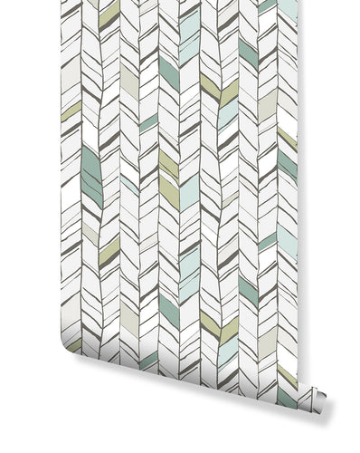 Self Adhesive Herringbone Pattern Removable Wallpaper CC197