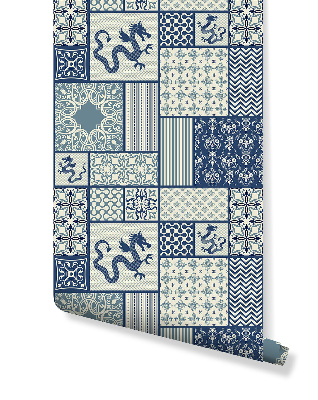 Self Adhesive Blue & White Moroccan Tiles Removable Wallpaper CC212