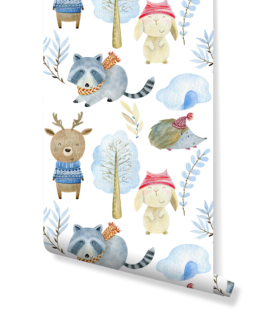Self Adhesive Kids Winter Animal Removable Wallpaper CC215