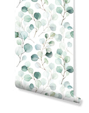 Self Adhesive Floral Green Watercolor Leaves Removable Wallpaper CC216