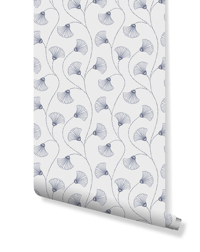 Art Deco Blooms Floral Self Adhesive Removable Wallpaper, Peel and Stick Abstract Fan Flowers White and Blue Wall Decor for Walls CC206