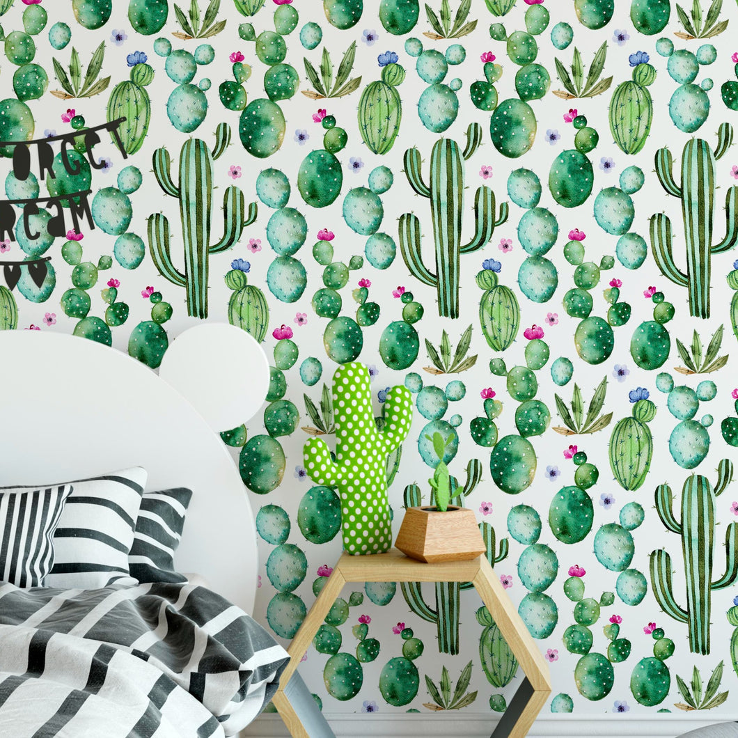 Self Adhesive Floral Watercolor Cactus Kids Removable Wallpaper CC209