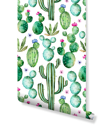 Self Adhesive Removable Floral Wallpaper Green Cactus with Purple Flowers, Peel and Stick Watercolor Hand Drawn Cacti Kids Wall Mural CC209