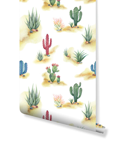 Self Adhesive Removable Wallpaper Desert Cactus, Peel and Stick Hand Drawn Watercolor Cacti Landscape Wall Mural, Accent Wall Decor CC210