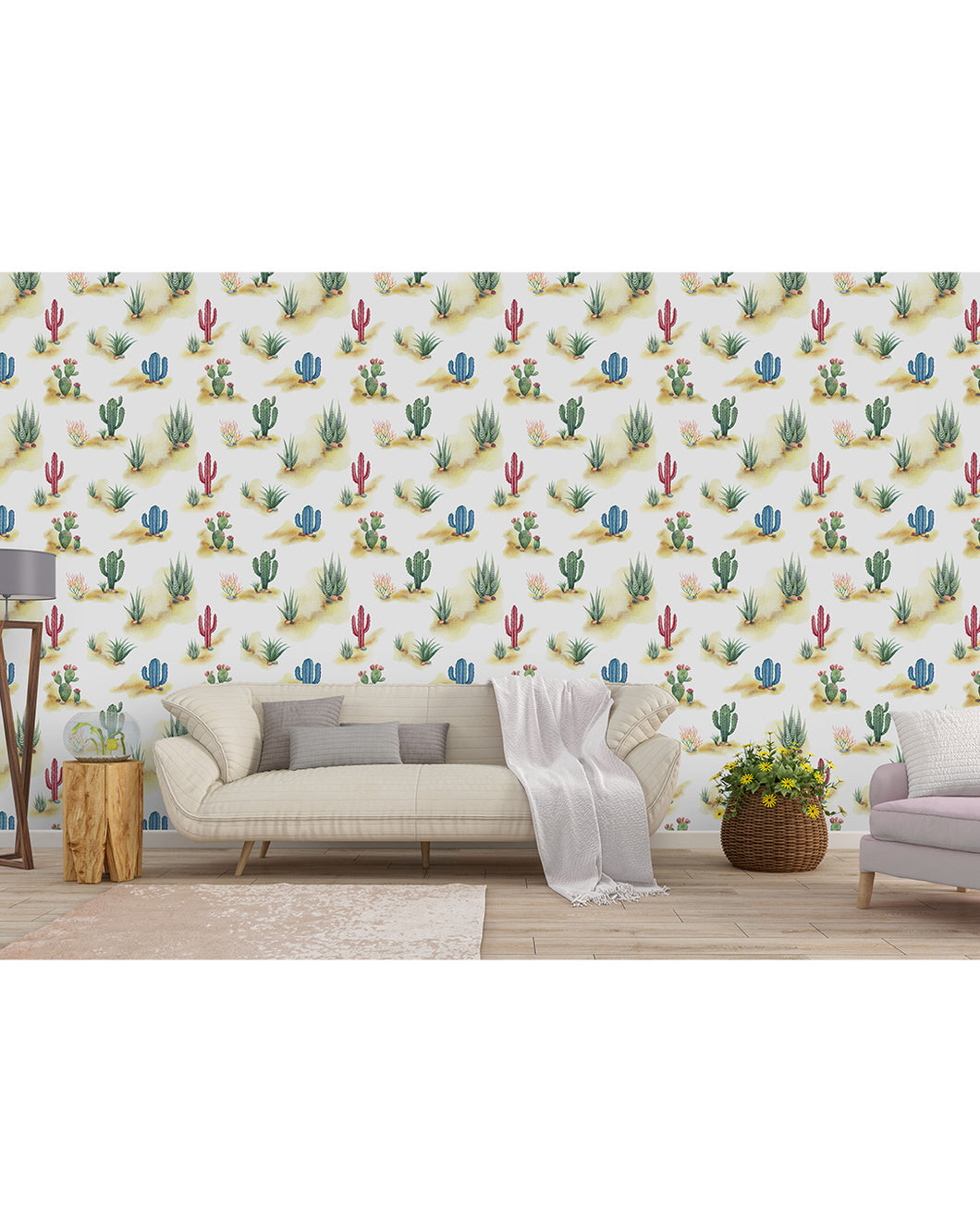 Self Adhesive Watercolor Desert Cactus Landscape Removable Wallpaper Costacover
