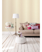Art Deco Peel and Stick Wallpaper - Vintage Geometric Removable Wall Paper - Gold Abstract Wall Decor - Self Adhesive Herringbone Decal CC217
