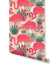 Self Adhesive Tropical Pink Flamingo Removable Wallpaper CC219