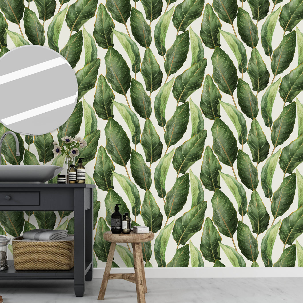 Self Adhesive Tropical Banana Leaves Removable Wallpaper CC220