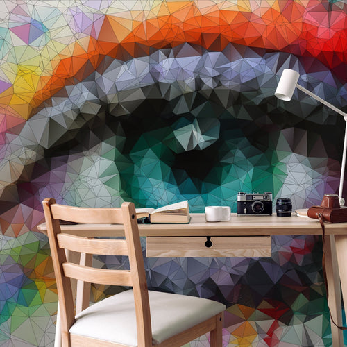Abstract Eye Wall Mural, Geometric Vector Colorful Mosaic Eye Self Adhesive Wall Decal, Peel and Stick Removable Wallpaper Wall Decor CCM011