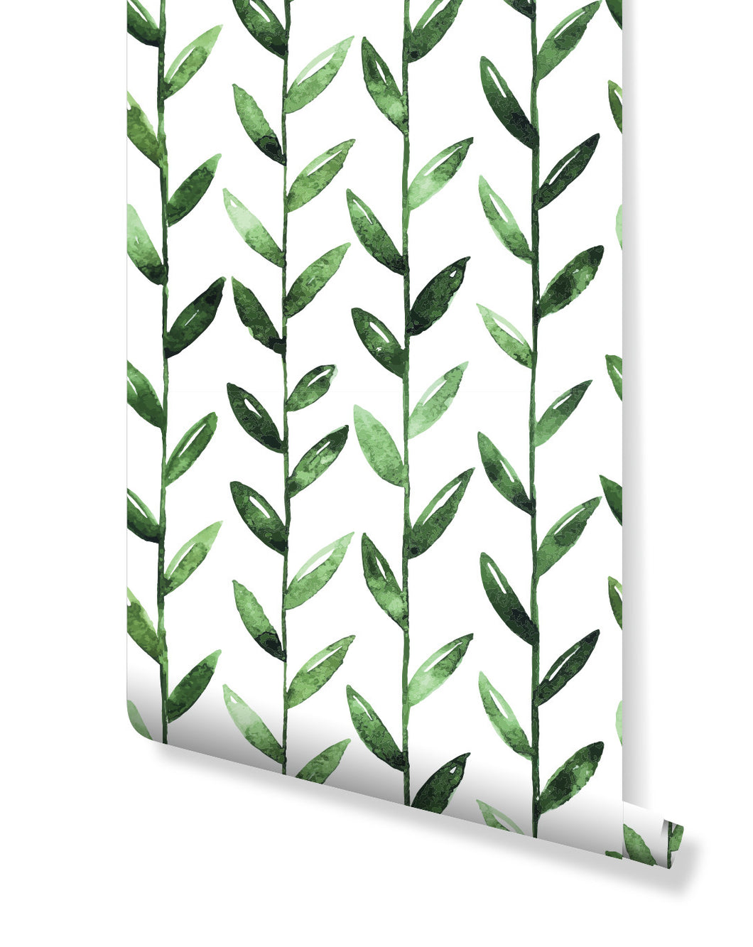 Temporary Self Adhesive Removable Vinyl Wallpaper with Watercolor Green Leaves On White tropical flowers, great for Bedroom & Living Room wall decor, Peel and stick application CC003