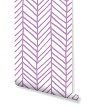 Peel and Stick Herringbone Removable Wallpaper Chevron Self Adhesive Wall Mural Purple Arrows Hand Drawn Geometric Pattern Wall Decal CC132
