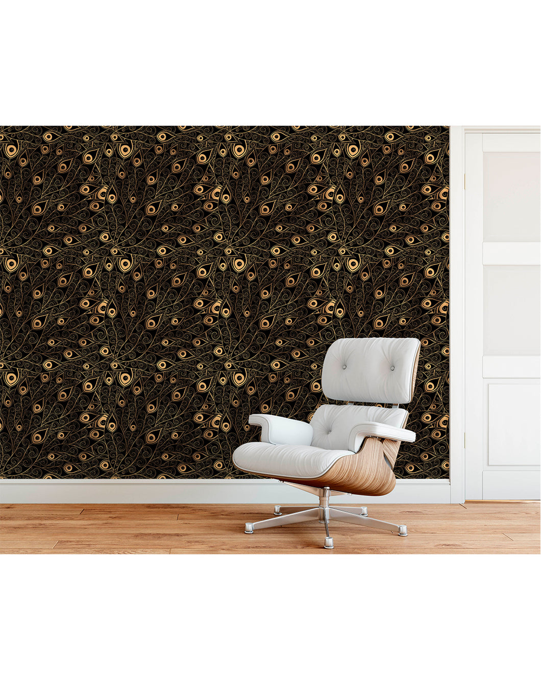 Costacover Self Adhesive Gold Black Peacock Feathers Wallpaper