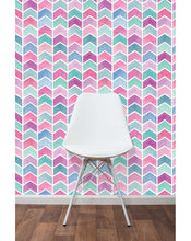 Colorful Self Adhesive Temporary Wallpaper, Geometric Watercolor Scallops Chevron Wall Decor, Peel and Stick Pastel Colors Wall Paper CC185