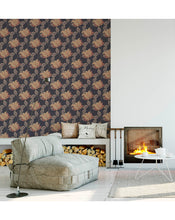 Floral Self Adhesive Temporary Removable Wallpaper, Geometric Mosaic Flowers and Leafs on Dark Background Peel and Stick Wall Paper CC179