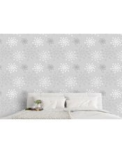 Self Adhesive Grey Flower Silhouette Removable Wallpaper CC223