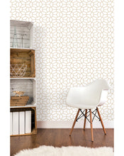 Self Adhesive Removable Vinyl Wallpaper with Cute Abstract Geometry Gold Hexagon on white background, great for  BedroomLiving Room wall decor, Peel and stick application CC102