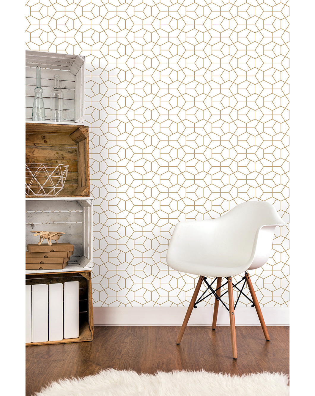 Self Adhesive Abstract Geometry Gold Hexagon Removable Wallpaper Costacover