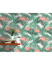 Palm Leaves Removable wallpaper Exotic Peel and Stick Jungle Wall covering Tropical Flamingo Birds Jungle Wall Paper Botanical CC055