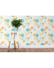 Self Adhesive Removable Wallpaper with Hand Drawn Colorful Circles Bubbles wall decor, great for nursery and kids rooms CC094