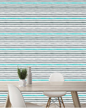 Self Adhesive removable wallpaper Watercolor Gray and Turquoise lines accent wall decal panels  CC078