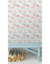 Colorful tropical removable wallpaper with stripes peel and stick wall covering flamingos on light blue stripes temporary wall decal CC039