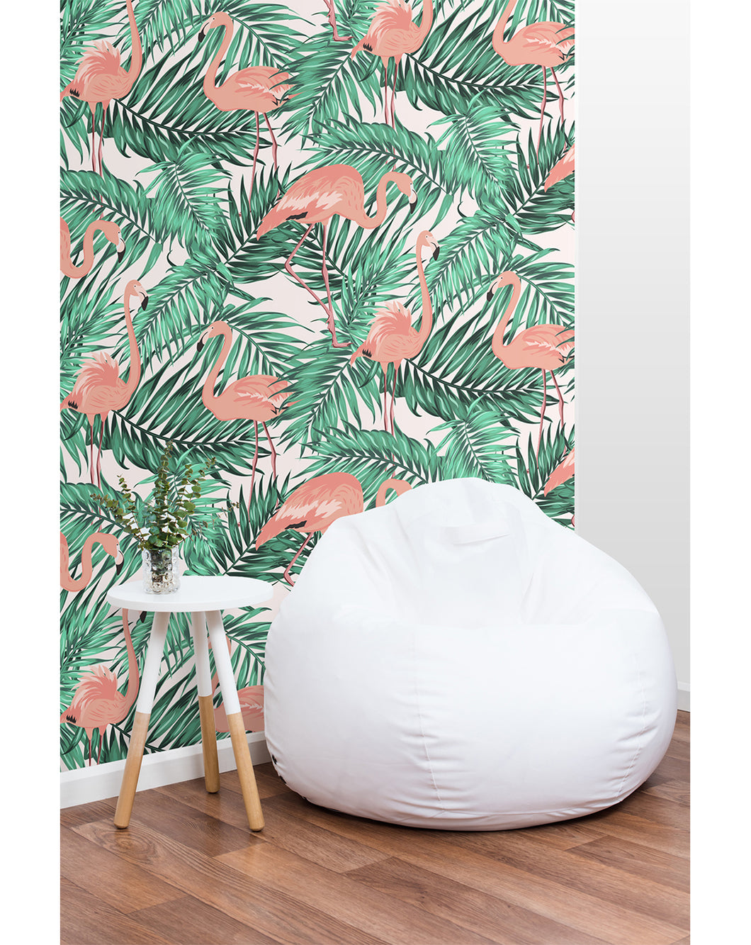 Self Adhesive Removable Wallpaper Tropical Palm Leaves With Flamingos Costacover