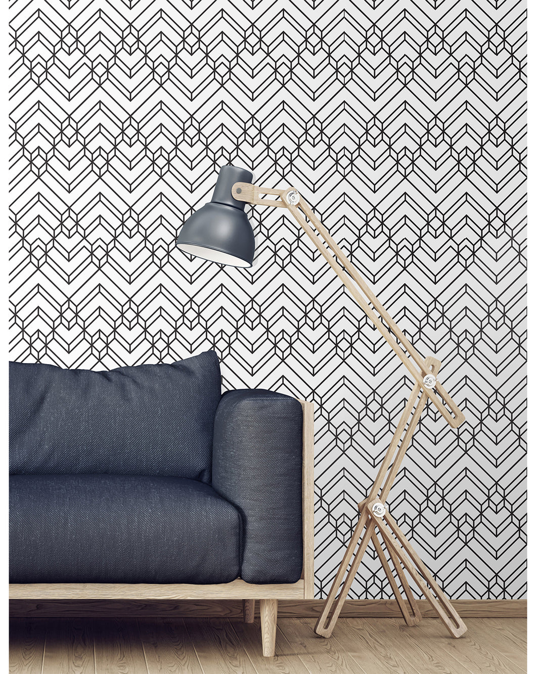 Abstract Black And White Chevron Geometric Removable Wallpaper Costacover