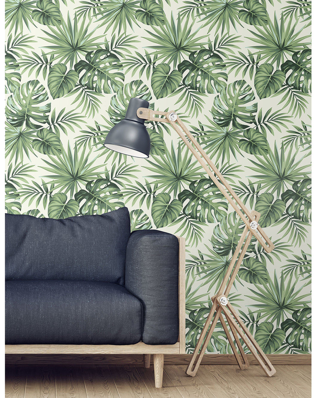 Tropical Wallpaper With Exotic Palm Leaves Illustration Removable Self Adhesive Wall Mural Peel And Stick Repositionable