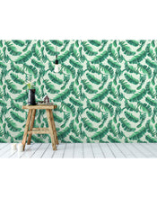 Renters wallpaper Removable sticker Wallpaper with Tropical Banana Palm Leaves - self adhesive wallpaper - peel and stick wallpaper CC093