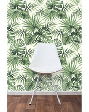 Tropical wallpaper with exotic palm leaves illustration removable self adhesive wall mural peel and stick repositionable wall decal CC030