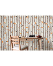 Removable Wallpaper, Self Adhesive Wall Decor with Autumn Trees and Birds, Scandinavian Minimalism Forest and Animal Style Wall Paper CC171