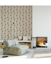 Self Adhesive Removable Wallpaper with Retro Style Twigs and Leaves in Pastel Colors, Geometric Chevron Style Wall Paper Great for Home Improvement Wall Decor CC166