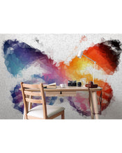 Abstract Butterfly Self Adhesive Wall Mural, Colorful Geometric Vector Art Wall Decal, Peel and Stick Mosaic Wallpaper Sticker CCM010