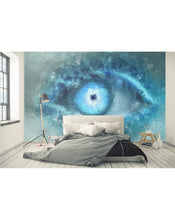 Eye Wall Mural, Geometric Vector Abstract Blue Mosaic Eye Self Adhesive Wall Decal, Peel and Stick Removable Wallpaper Wall Decor CCM009