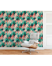 Self Adhesive Temporary Removable Wallpaper with Tropical Exotic Mosaic Palm Leaves and Parrots, Colorful Floral Home Improvement Wall Decor CC170