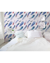 Stick and Peel Removable Wallpaper Colorful Elegant Watercolor Feathers Self Adhesive Artistic Wall Decor CC111