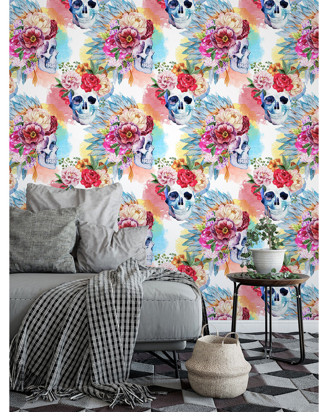 Costacover Removable Wallpaper Colorful Floral Watercolor Skulls