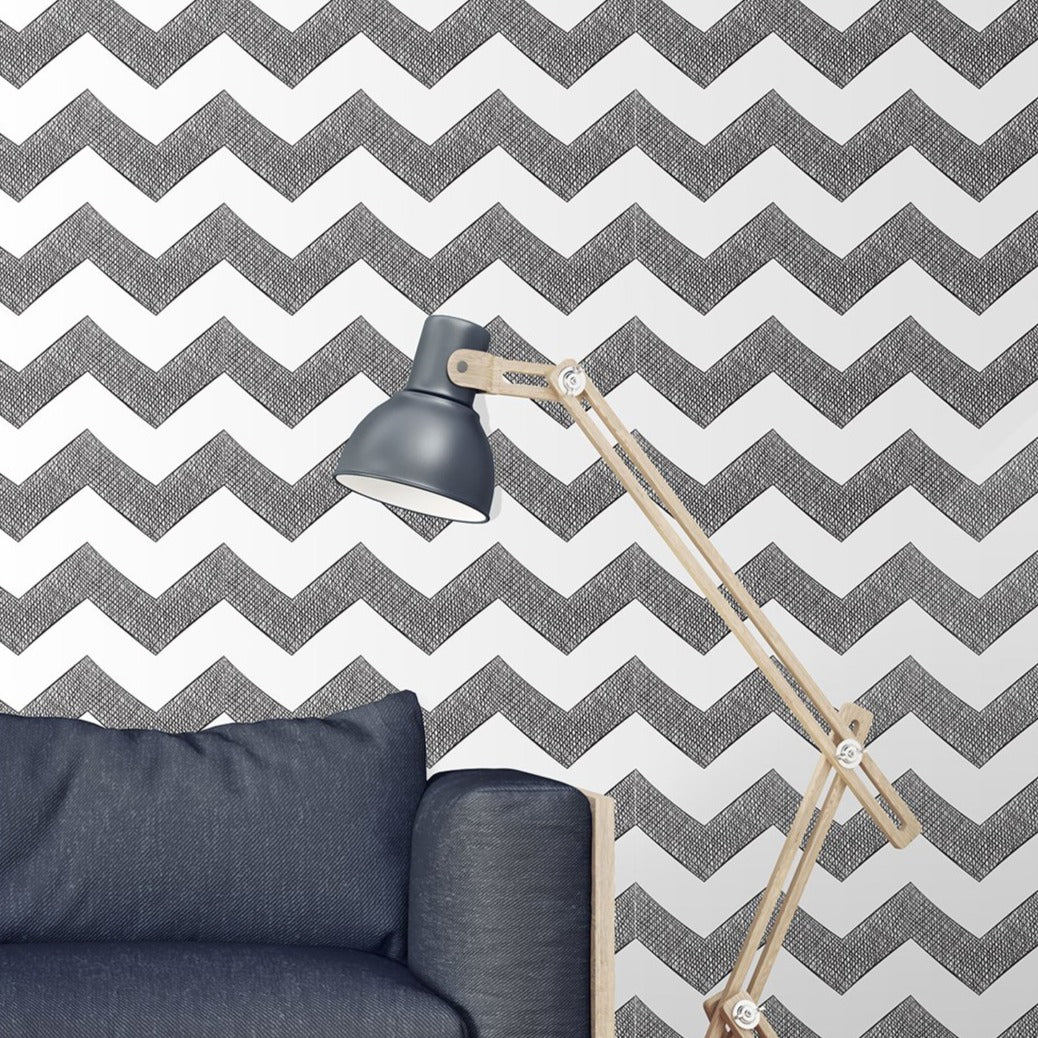 Removable Temporary Wallpaper Classic Hand Drawn Chevron Black And White Zigzag Self Adhesive Vinyl Peel