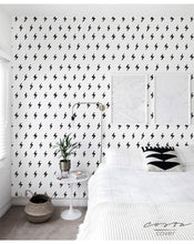 Self Adhesive Removable Wallpaper Black and White Ink Doodles Small Lightning Wall Decor Peel and Stick Application CC085