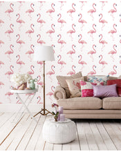 Peel and Stick Removable Wallpaper Watercolor Exotic Pink Flamingo Tropical Wall Covering Self Adhesive Vinyl CC106
