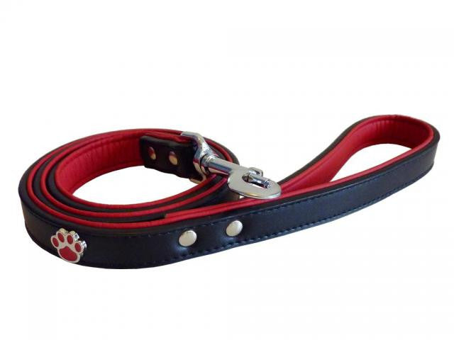 Paws Black Leather Dog Lead - Pet Goodys