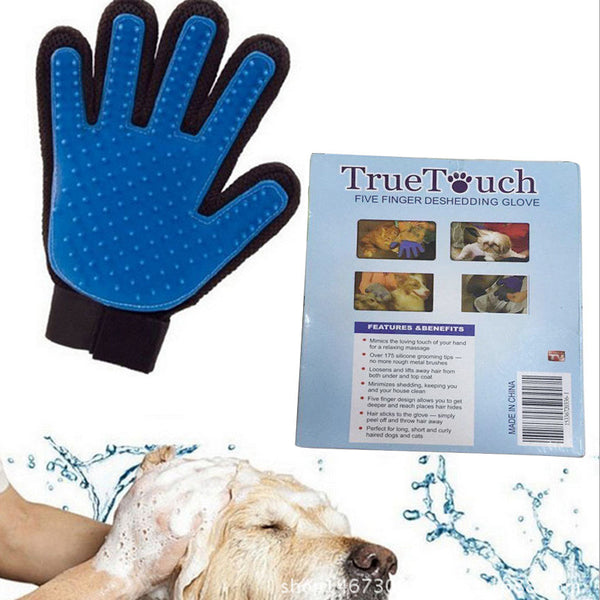2017 New Product Silicone dog Glove Deshedding Gentle Efficient Pet Grooming Dogs Bath Pet Supplies - Pet Goodys