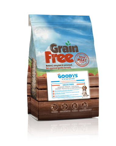 Grain Free Senior Dog Food With Trout, Salmon, Sweet Potato & Asparagus - Pet Goodys