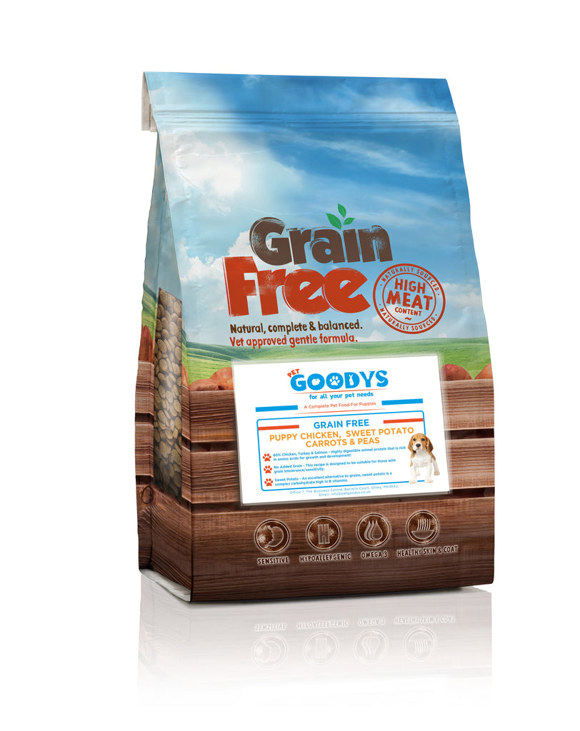 Grain Free Dog Dry Food - PUPPY Chicken, Sweet Potato , Carrots & Peas - Pet Goodys