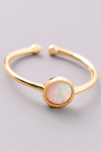 Round Opal Stone Charm Ring