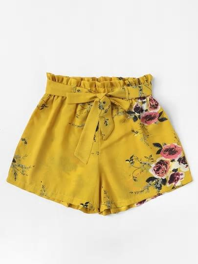 yellow floral print self-tie shorts