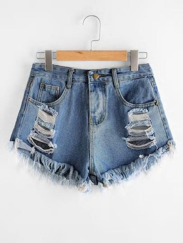Plus Ripped Frayed Hem Denim Shorts