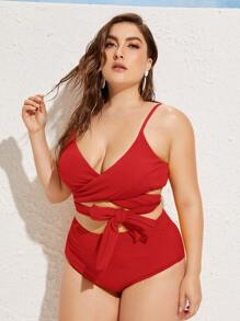 Textured Tie Front Top With High Waist Bikini Plus size